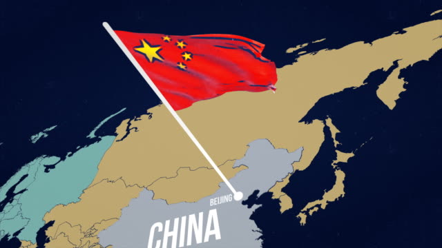 4k chinese flag on map - asia pac stock videos and b-roll footage