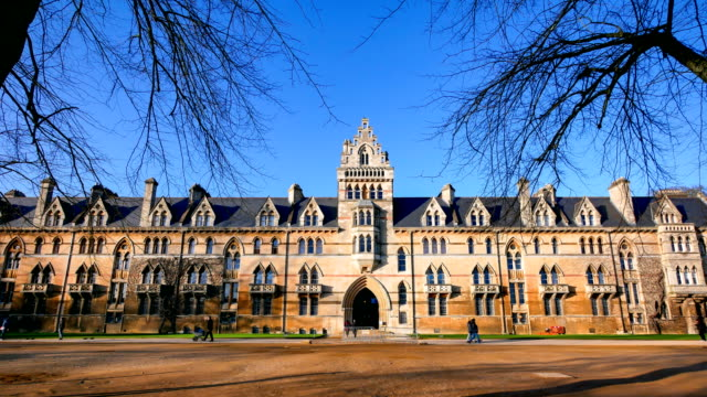 4k christ church oxford university, england uk - time-lapse - oxford england video stock e b–roll