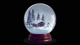 4k Christmas Snow Globe + Chroma Key + Alpha Channel