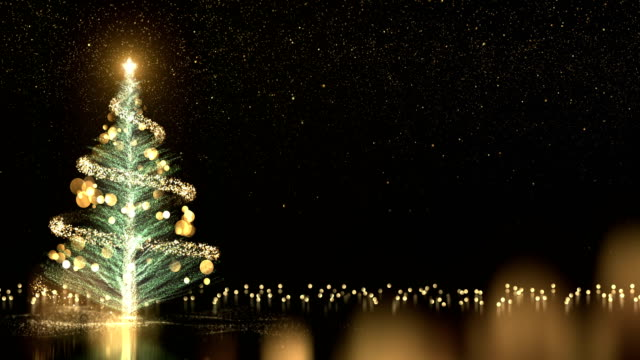4k Christmas Tree With Black Background - Loop