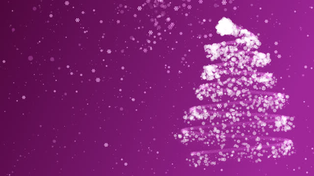 4k christmas tree with snow and snowflake pink magenta background - decoration stock videos & royalty-free footage