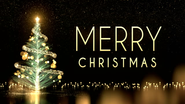 4k christmas tree with text and black background - loop - christmas tree stock videos & royalty-free footage