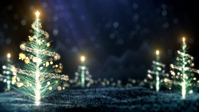 4k christmas trees background (blue) - loop - a forma di stella video stock e b–roll