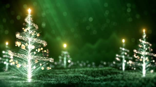 4k christmas trees background (green) - loop - public celebratory event stock videos & royalty-free footage