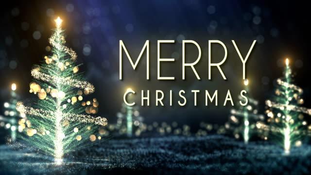 4 k kerst bomen achtergrond met tekst (blauw) - lus