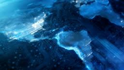 4k Circuit Board World Map (Blue) - Loop