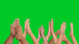 4k clapping hands on chroma key
