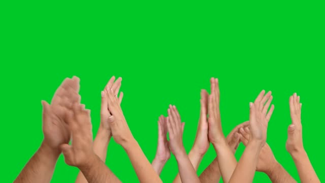 4k clapping hands on chroma key - green background stock videos & royalty-free footage