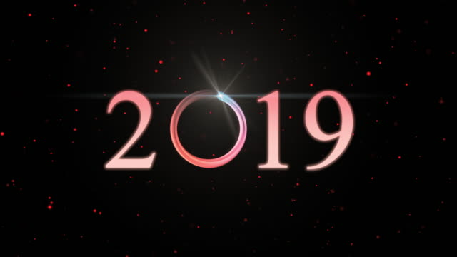 4k clip of 2019 text with sparkle optical flare light with particle galaxy dark background, happy new year celebration and greeting cards concept - 2019 stock videos and b-roll footage