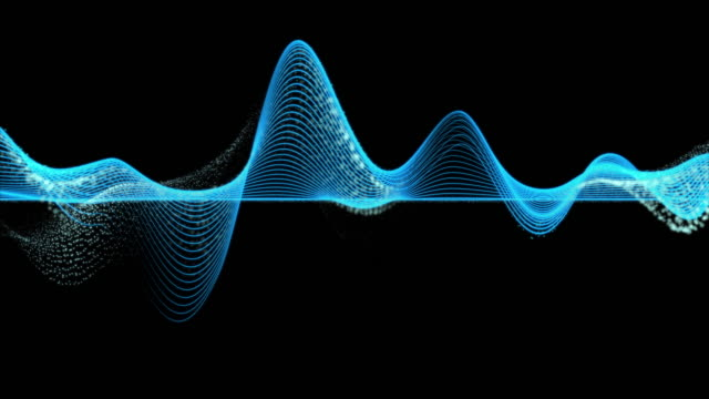 vídeos de stock e filmes b-roll de 4k clip of abstract blue graph wave line particle over dark background, digital technology and innovation concept - desenho de ondas