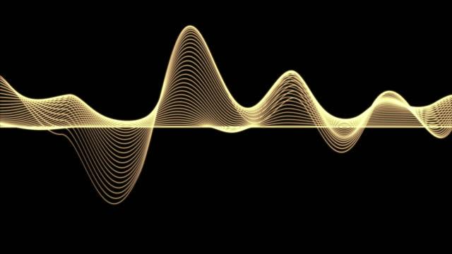 vídeos de stock, filmes e b-roll de grampo de 4k da linha abstrata da onda do gráfico azul da partícula sobre o fundo escuro, tecnologia digital e conceito da inovação - atividade