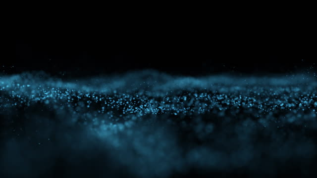 vídeos de stock e filmes b-roll de 4k clip of abstract blue wave particle over dark background, digital technology and innovation concept - desenho de ondas