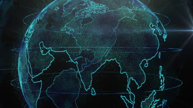 vídeos de stock, filmes e b-roll de clipe de 4 k de zoom de partícula abstrata planeta terra ao continente da ásia - virando