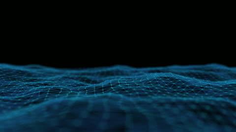 vídeos y material grabado en eventos de stock de clip 4k de partícula de onda abstracta del plexus sobre fondo oscuro, tecnología digital y concepto de innovación - holograma