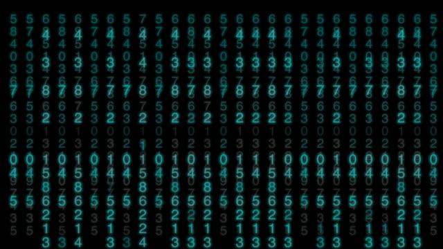 vidéos et rushes de 4 clip de k de nombre aléatoire de particules bleu tombant avec effet de matrice sur arrière-plan animé, analyse des données et concept financier - generator