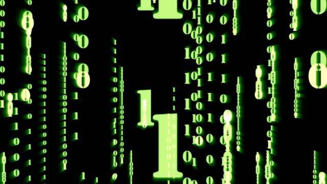 4 k-clip von zufälligen grünen partikel binary digit zahl nach unten fallen und zoom mit matrix-effekt über animierten hintergrund, analyse-daten und computer-konzept - generator stock-videos und b-roll-filmmaterial