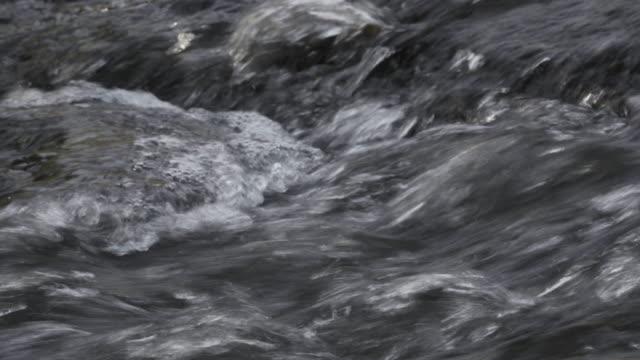 vidéos et rushes de 4k fermer jusqu'à écoulement de l'eau dans la nature. - canal eau vive