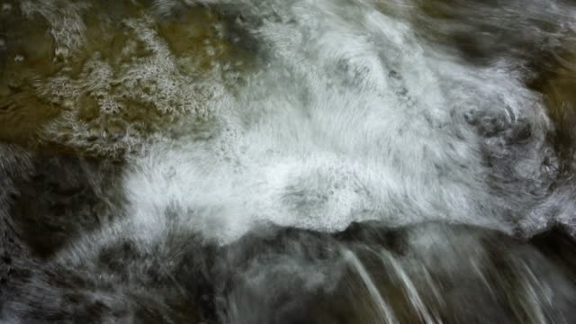 vídeos de stock e filmes b-roll de 4k close-up water pouring down the wet rock in the river - musgo