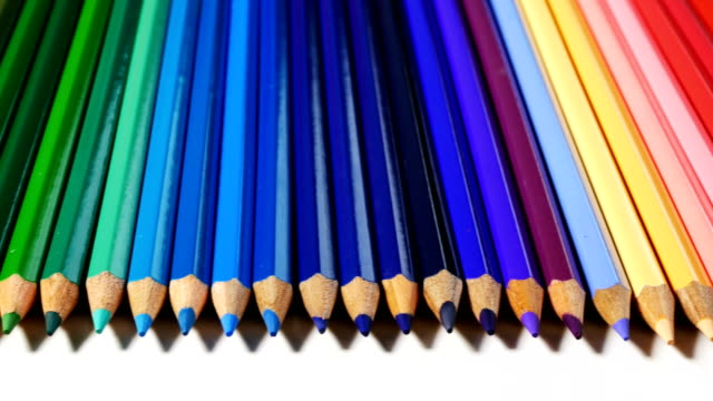 4k colored pencils - arranging stock videos and b-roll footage