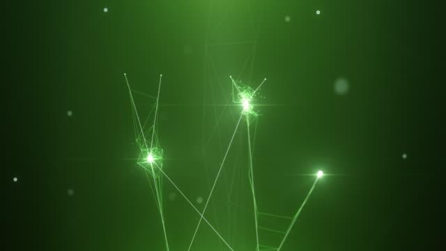 4k複雑な接続が出現し、ネットワークを形成する(緑) - 上に移動 - ループ可能 - 人工知能、ブロックチェーン、ビッグデータ、ネットワークセキュリティ - big data点の映像素材/bロール