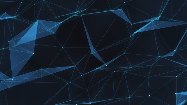 4k complex connections movint animation background blue, abstract grey plexus dot, line and surfuces conect, a network, artificial intelligence, blockchain, big data, network security - complexity stock videos & royalty-free footage