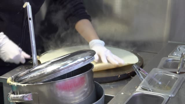 4k: cooking crepe dessert japan - french food stock videos and b-roll footage