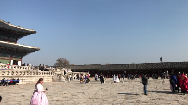 4k crowd of people at Gyeongbokgung Palace at Seoul city in South Korea
