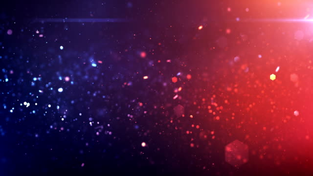 vídeos de stock e filmes b-roll de 4k defocused particles background (red, blue) - loop - faísca
