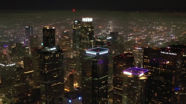 4k downtown los angeles night aerial - los angeles county stock videos & royalty-free footage