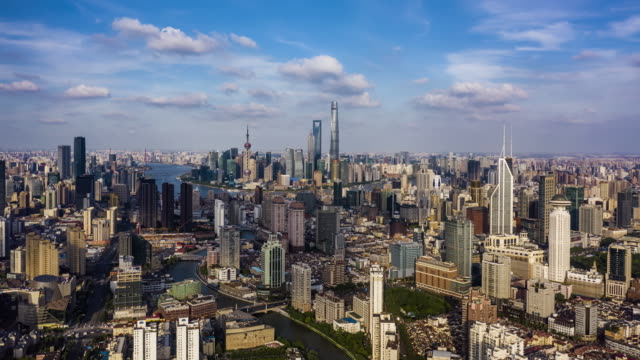 4k drone footage : shanghai skyline - wide angle stock videos & royalty-free footage