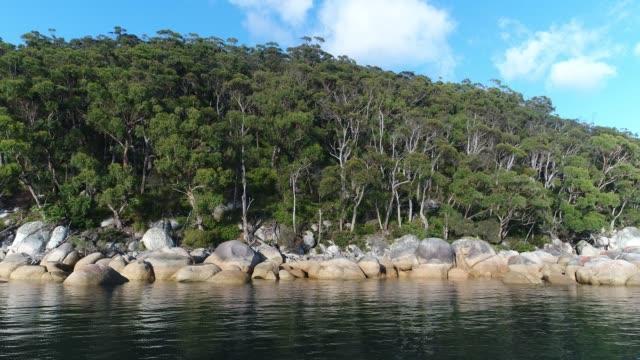 4k drone pov sea rocks and forest - brightly lit点の映像素材/bロール