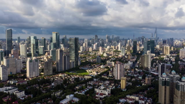 4k drone time-lapse footage : shanghai skyline at typhoon season - majestic stock videos & royalty-free footage