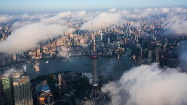 4k drone time-lapse footage : shanghai skyline at typhoon season - oriental pearl tower shanghai stock videos & royalty-free footage