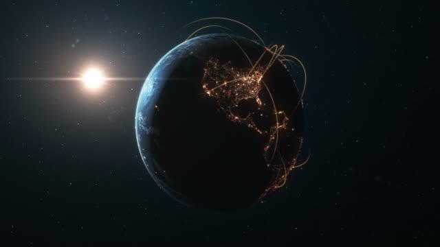 vídeos de stock e filmes b-roll de 4k earth with connection lines (zoom in) - international network / flight routes - futurista