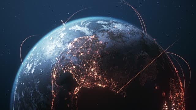 4k earth with connection lines - loopable - international network / flight routes - global finance stock videos & royalty-free footage