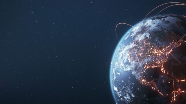 4k earth with connection lines (copy space) - loopable - international network / flight routes - copy space stock videos & royalty-free footage
