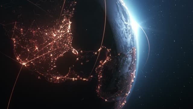vídeos de stock e filmes b-roll de 4k earth with connection lines (close up) - loopable - international network / flight routes - network