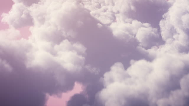 4k flying over pink fluffy clouds background - loopable - sunny, sky, dreamlike - pink colour stock videos & royalty-free footage