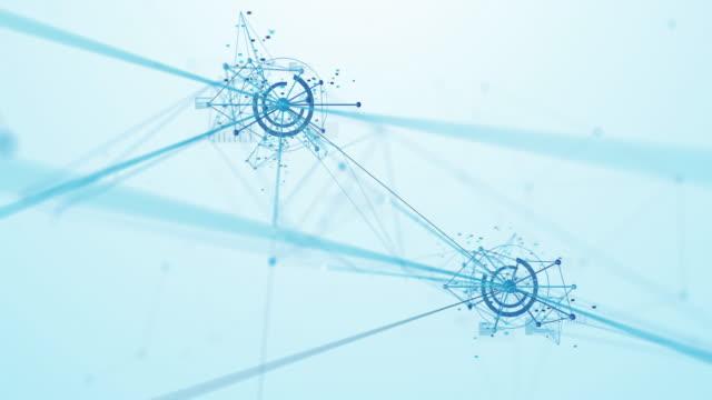 新興ネットワークを飛ぶ4k (白) - ループ可能 - 人工知能、ブロックチェーン、ビッグデータ、ネットワークセキュリティ、接続 - big data点の映像素材/bロール