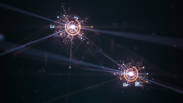 4k flying through an emerging network (multi colored) - loopable - artificial intelligence, blockchain, big data, network security, connections - cryptocurrency stock videos & royalty-free footage