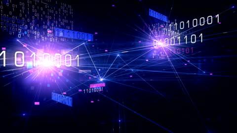 4k flying through binary network (purple) - loop - exchanging stock videos & royalty-free footage