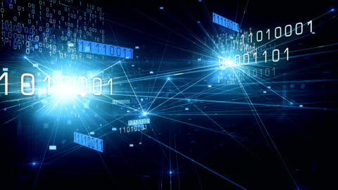 4k fliegen durch binäre netzwerk (blau) - loop - code stock-videos und b-roll-filmmaterial