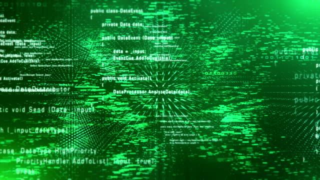 4 k のプログラム コード (緑) によって飛行のループします。 - 文字点の映像素材/bロール