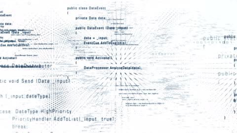 4k fliegen durch programmcode (weiß) - loop - überbelichtet stock-videos und b-roll-filmmaterial