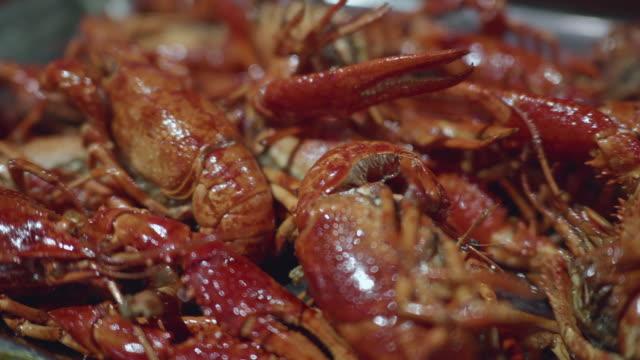 4k footage : boiled crawfish with seasoning - flußkrebs tier stock-videos und b-roll-filmmaterial