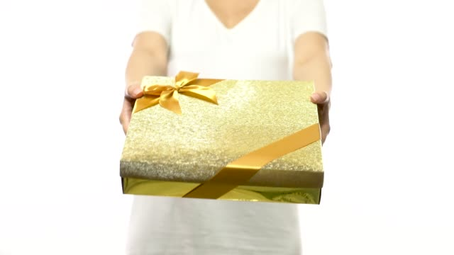 4k footage of asian woman give a present gift box - wrapped stock videos and b-roll footage