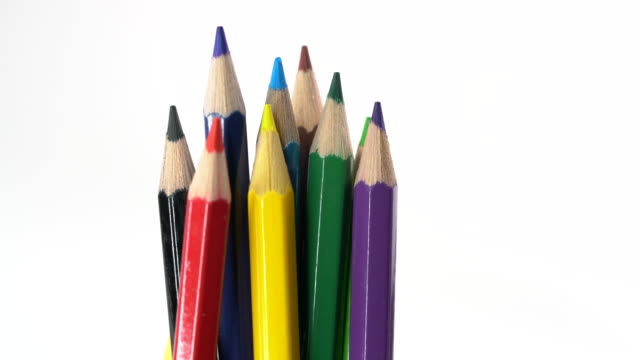 4k footage of Color pencil on white background