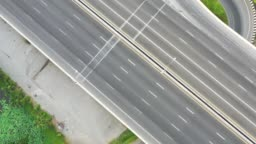4k footage of empty and lonely highway or interstate road during day time.Transportation and logistic concept
