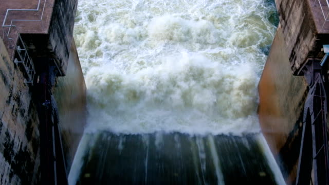 4k footage of Hydroelectric Dam spillway