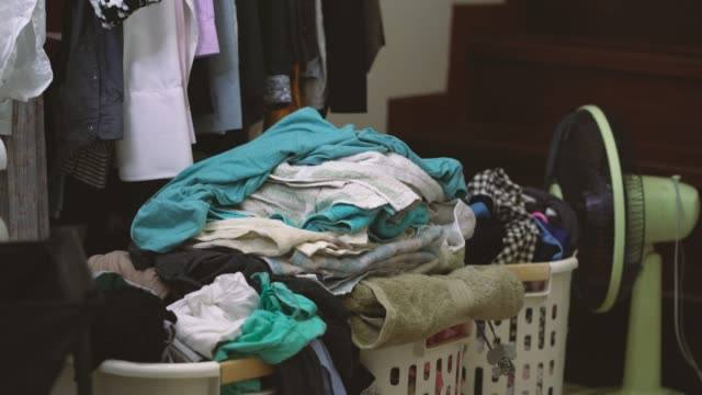 4k footage of messy clothes - messy stock videos & royalty-free footage